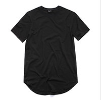 Wholesale mens plain tee shirts - Mens Loose Tee Clothing Designer Citi Trends Clothes T shirt Homme Curved Hem Tee Plain White Extended T shirt