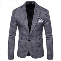 ingrosso vestiti di controllo blu-2018 New Large Lattice Wool Blu Check Tweed Custom Suit da uomo Pioneer Retro Cut Making Slim Per uomo Plaid blazer