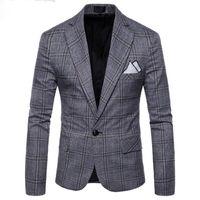 traje a medida hombres tweed al por mayor-2018 New Large Lattice Wool Blue Check Tweed Custom Men 's Casual Suit Pioneer Retro Cut Slim para hombres Plaid blazer