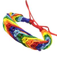 zarte armbänder großhandel-Brandneue Charm Lesbian Valentines Geschenke LGBT Flagge Braid Rainbow Gay Pride Armband Liebe heißer Verkauf Delicate Drop Shipping