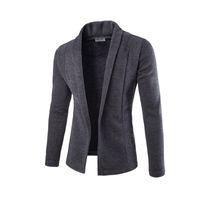 Wholesale long pocket knitted cardigan resale online - Concise V Neck Sweater Coat Cardigan Sweater Men Male Solid Color Slim Mens Cardigan Sweater Coat Man Cardigan for Men Free Drop Ship