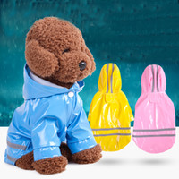 Wholesale Summer Dog Raincoat - Puppy Cat Rain Coat Candy Color PU Reflection Dog Rainwear Waterproof Pet Supplies Multicolor 11 5md Z R