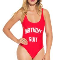maya rojo al por mayor-Traje de baño Mujer traje de CUMPLEAÑOS fiesta de una pieza traje de baño monos carta impresión Monokini divertido mono mamelucos más talla mayo rojo YWXK1803xx