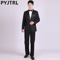 Wholesale Jackets Cheap Costume - (Jacket+Pants) Classic Closure Collar Men's Evening Suit Choir Competition Master Clothing Costume Stage Wear Suits Cheap Tuxedo