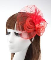 französische clips großhandel-Elegante Dame Feder Fascinator Cocktail Hut Haarnadeln für Hochzeit Haarspange Französisch Mesh Schleier Haarband Haarschmuck viele Farben