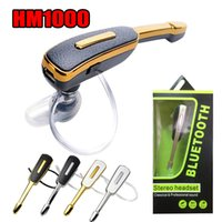 Wholesale single earphone mic resale online - HM1000 Single Bluetooth Headphones Earbuds Wireless Earphones Stereo Handsfree with Mic for iPhone Samsung with Retail Package