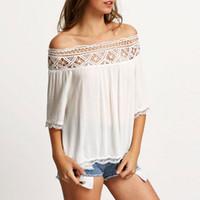 185895aef8c SHIBEVER Summer Lace Spliced Boho Women Blouse Shirt Half Sleeve Casual  Tops Chiffon Blouse Fashion Sexy Slash Neck Shirt ALD750. 34% Off