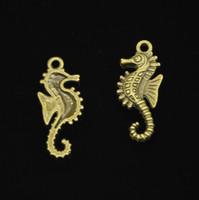hiboux en laiton vintage achat en gros de-80pcs alliage de zinc Charms Antique Bronze plaqué marine hippocampe hippocampe Charms pour la fabrication de bijoux DIY pendentifs à la main 29 * 12mm
