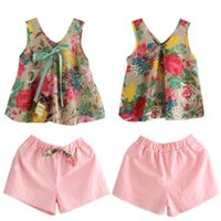 Wholesale Girls Shorts Floral Pants - Floral Tops Shorts Suit Girls Two-piece Sets Floral Shirt with Bow Short Pants 100% Cotton Spring Summer Girls Outfits 2-6T