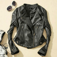Wholesale leather jacket women xxl - 2016 spring autumn women short coat PU leather plus size motorcycle jacket xxl