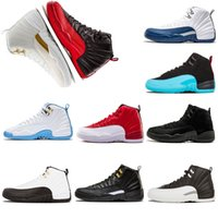 Wholesale university gold - 2018 12 12s mens shoe Flu Game the master black white basketball shoes University Blue UNC Gym red taxi french sneaker trainers