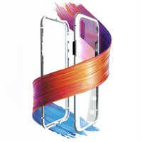 Wholesale aluminum case online - Magnetic Adsorption Metal Phone Case for iP Xr Xs Max X Plus Full Coverage Aluminum Alloy Frame with Tempered Glass Back Cover