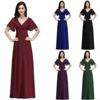 Wholesale T Length Evening Gowns - Under $40 Cheap Chiffon Bridesmaid Dresses 2018 A Line Short Sleeves Low Back Long Evening Prom Occasion Gowns CPS715