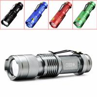 antorcha foco ajustable al por mayor-5 colores de luz de flash 7W 300LM CREE Q5 LED linterna de camping antorcha foco ajustable zoom linternas impermeables lámpara