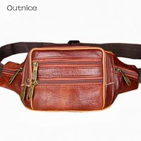 старинные дорожные сумки мужские оптовых-OUTNICE  Vintage Retro Genuine Leather Waist Bag Male Fanny Pack Mens Bum Bags Business and Travel Bags for men women