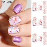 ingrosso adesivi a foglio completo-14pcs / Sheet Floral Nail Wraps Fancy Fiori Nail Art Full Stickers Art Sticker Decorazione QJ1096