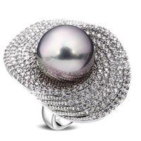 pérolas de zircão venda por atacado-Anéis grandes para as mulheres banhado a ródio w / Cubic zircon imitação de pérolas de cobre Anel novo designer de moda jóias Frete grátis