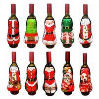 rosa dame wein großhandel-Kleine Schürze Flasche Wein Cover Weihnachten Sexy Lady / Xmas Hund / Santa Pinafore Rotweinflasche Wrapper Urlaub Flasche Kleidung Kleid