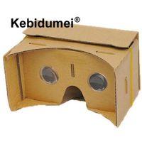 """sanal gerçeklik mercek toptan satış-Kebidumei DIY Mıknatıs Google Karton Sanal Gerçeklik VR Telefonu 3D VR 3D Gözlük Için Gözlük 5.0 """"Ekran Google"""