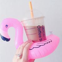 pala de plástico de playa al por mayor-Inflables Flamingo Drinks Portavasos Flotadores de la piscina Bar Posavasos Dispositivos de flotación Niños Juguete de baño de tamaño pequeño