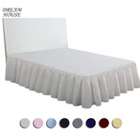 распродажа покрывало оптовых-2018 Hot Sale Bed Skirt for Bedroom Hotel Solid Color Elastic Bed Skirt Hotel Home Apron Bedspread Home Textile