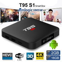 Wholesale android smart tv box - T95 S1 TV BOX Amlogic S905W Quad core Android G WiFI M Lan high quality internet tv box GB GB Smart media player x96 mini