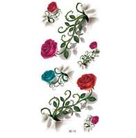 2f14cc2ef 4Pcs Temporary Tattoo Body Art Vintage 3D Tattoo Waterproof Sticker Decal  Waterproof Tattoo Rose Flower Pattern Flash