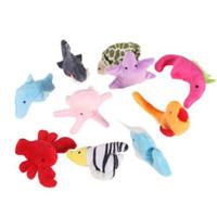 детский рассказ мультфильм оптовых-10Pcs Baby Плюшевые игрушки Finger Puppets Lovely Cartoon Sea Animal Tells Story Props Kids Cute Puppets Игрушка Дети День рождения Подарок