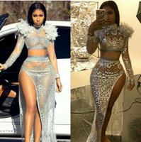 высокое перо перо платье оптовых-Вечернее платье Yousef aljasmi Kim kardashian высокий воротник из бисера перо Сплит длинное платье Almoda gianninaazar ZuhLair murad Ziadnakad 0011