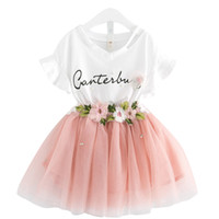 Wholesale Girls Cotton Summer Tops - Baby girls lace skirts outfits girls Letter print top+flower tutu skirts 2pcs set 2018 summer Baby suit Boutique kids Clothing Sets C3863