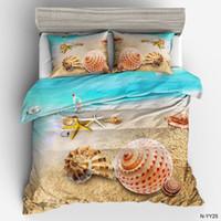 ingrosso biancheria da letto oceano piena-Copripiumino per letto Ocean Copripiumino Copri federa 3D Conch Copripiumino per letto per adulto di lusso Set Completo per letto matrimoniale Queen Size
