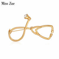Wholesale Medical Locks - Miss Zoe Medical Stethoscope Brooch Pins Gold Silver Crystal Collar Corsage Nurse Physicians Medical Student Graduation Gift