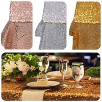 gelber paillettenstoff großhandel-30 * 275 cm Stoff Tischläufer Gold Silber Pailletten Tischdecke Sparkly Bling für Hochzeit Dekoration Produkte Liefert