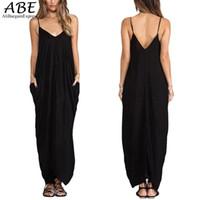 ein gurt maxi kleid großhandel-Sexy Damen Frauen Casual Kleider Solide Low  Back Alle In 9b44e984ad