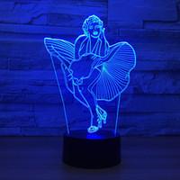 usb dropshipping venda por atacado-Marilyn Monroe Ilusão de Óptica 3D Lâmpada Night Light DC 5 V USB Powered AA Bateria Atacado Dropshipping Frete Grátis