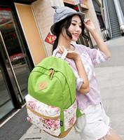 tuval desenli okul sırt çantası toptan satış-Gençler Kızlar Laptop Çanta Baskı Sırt Çantası Kadın Sırt Çantası Toptan-Marka Kalite Çiçek Desen Canvas Çanta Okul Sırt Çantaları