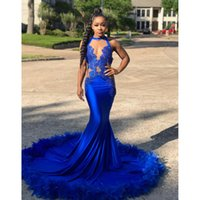 Wholesale special occasion dresses for girls for sale - Royal Blue Prom Dresses For Black Girl Sexy Lace Appliques Feather Court Train Long Mermaid Special Occasion Evening Dress Formal Wear