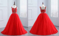 Wholesale Spaghetti Strap Flower Girl Dresses - Red Princess Girls Pageant Dress 2018 Cheap With Straps Lace up Back Crystal Beaded Tulle Beaded Cheap Flower Girls First Communion Dresses