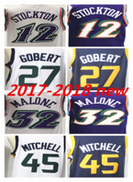 Wholesale hot johns - HOT SALE 2018 New Season Authentic Men Basketball Jersey 27 Rudy Gobert 45 Donovan Mitchell 12 John Stockton 32 Karl Malon Mens Jerseys