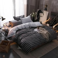 Wholesale boys twin size bedding sets resale online - Simple Stripes Bedding Set boy students Gray Duvet Cover Set Twin Full Queen King Size Active printing fashion Bedclothes