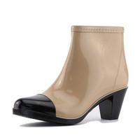 botas tobillo rosa al por mayor-Botas de lluvia para mujer 2018 Nuevo tacón alto 6 cm Zapatos de agua para tobillo Botas de lluvia Mujer Suela de goma antideslizante Zapatos de mujer de moda
