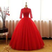 lantejoulas vermelhas com contas de tul venda por atacado-Jane Vini Vermelho Alta Pescoço Quinceanera Vestidos com Meia Manga Rendas De Tule Frisada Lantejoula Vestido De Baile Vestidos de Baile Plus Size Doce 16 Vestidos