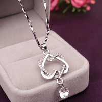 Wholesale crystal pave link necklace - Hot Selling White Gold Plated Double Heart Necklace with Micro AAA CZ Crystal Pave Women Jewelry drop shipping hot sale 161713