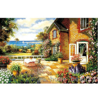 Wholesale Painting Oil Sea - Oil painting paint by numbers diy canvas wall decor hand painted picture drawing coloring by number garden cabin sea E354