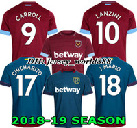 Wholesale west home - CHICHARITO TOP 18 19 West Ham United home soccer jersey ZABALETA KOUYATE CARROLL LANZINI PAYET NOBLE 2018 2019 away football shirt J.MARIO