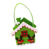 Wholesale Black Santa Ornaments - 1 Pcs Merry Christmas House Shape Gift Treat Candy Wine Bottle Bag Santa Claus Snowman Decor portable Christmas Gift Bags