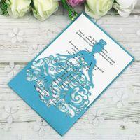 taç safir toptan satış-Yeni Lazer Kesim Safir Mavi Taç Prenses Iş Doğum Günü Tatlı 15 Quinceanera Parti Davetiyeleri Kartları Parti Davet