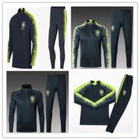 Wholesale grey uniform pants - 2018 top quality Brazil training suits Uniforms shirts Chandal tracksuits Survetement long sleeve tight pants With zipper