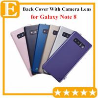 note cache-objectif achat en gros de-Boîtier arrière de la batterie avec boîtier en verre avec objectif caméra + autocollant installé pour Samsung Galaxy Note 8 N950 Pièces de rechange 10PCS