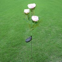 flor solar decorativa venda por atacado-Peônia Subshrubby Lawn Lamp Simulação 3 Cabeças de Flores LEVOU Luz de Energia Solar Jardim Artificial Luzes Decorativas Venda Quente 25wnb YB